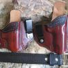 Holsters and belt for Robert in IL. Colt Commander and Glock 42. Color is cherry chocolate.